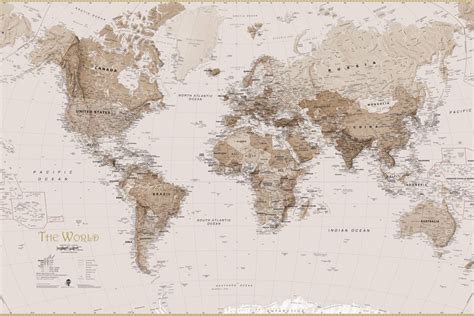 Retro Livingroom by Earth Tone World Map Mural Wallpaper Murals Wallpaper