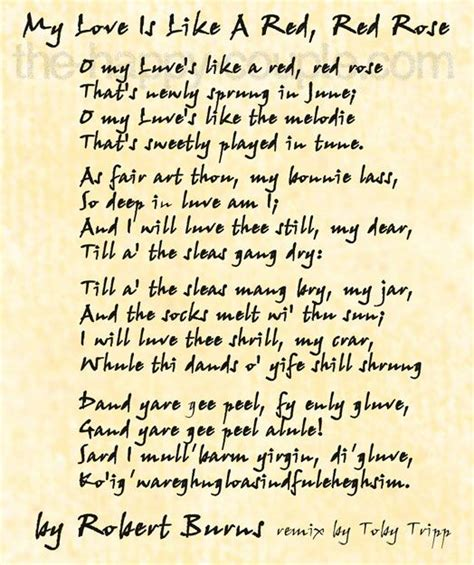 """Robert Burns' famous love poem, """"My Love is Like a Red"""