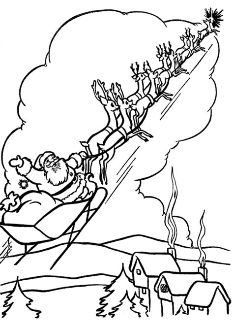 coloring pages of santa sleigh santa in sleigh coloring pages download and print for free