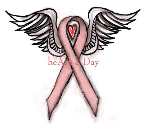 heart with ribbon tattoo designs drawing design fav breast cancer