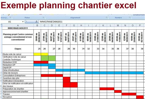 exemple de gestion de planning chantier excel cours