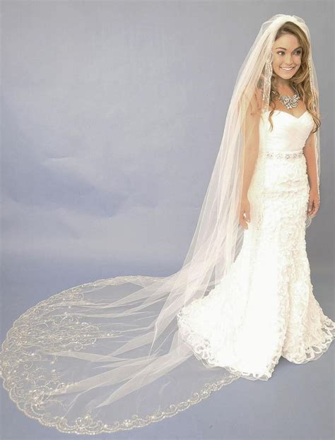 beaded veils wedding beaded embroidery cathedral length wedding veil e1122l