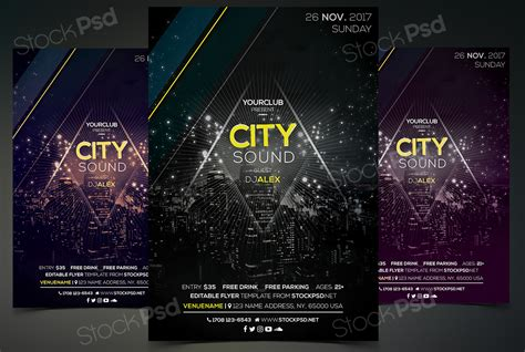free city sound event photoshop flyer template