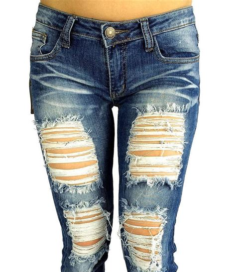ripped denim cutout destroyed ripped distressed slim