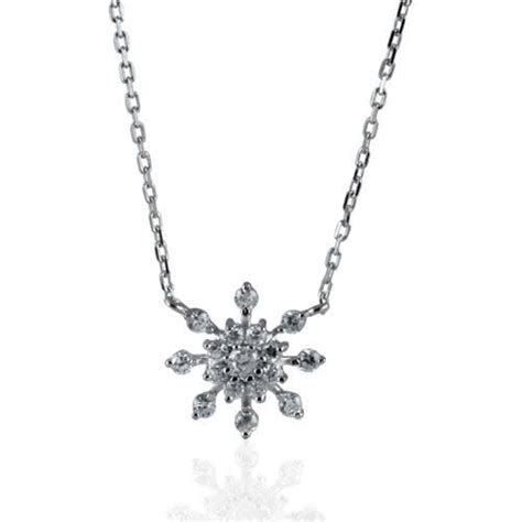 snowflake necklace set with cubic zirconia rhodium