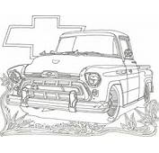 Classic Chevy Truck Line Art Coloring Page