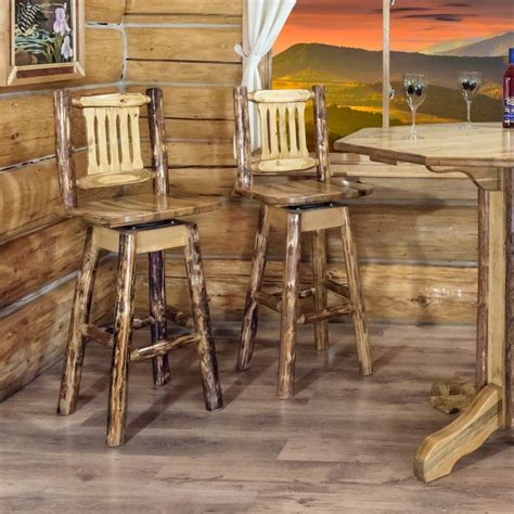 Pine Log Bar Stools by Montana Log Swivel Barstool With Back By Montana Woodworks