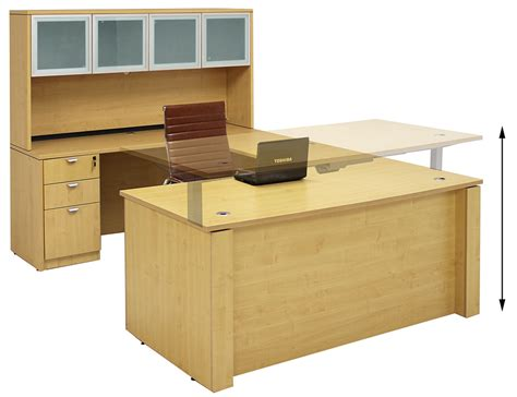 U Shape Office Desk Adjustable Height U Shaped Executive Office Desk W Hutch In Maple