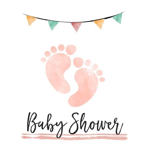 Baby Boy Shower Images Free by Watercolor Baby Shower Card With Footprints Vector Free