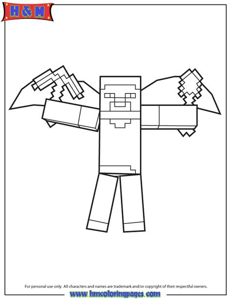 minecraft herobrine free colouring pages