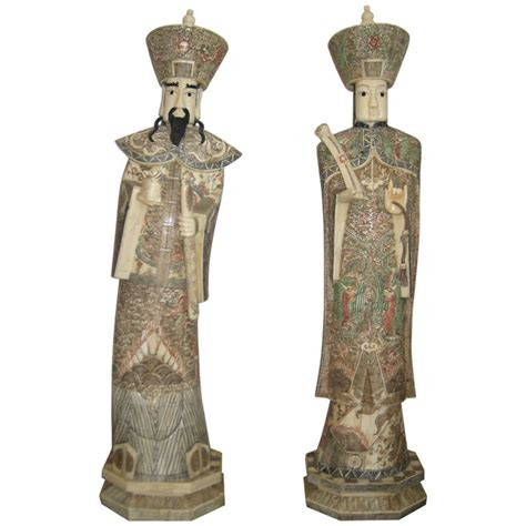 very large pair of chinese carved bone figures for sale