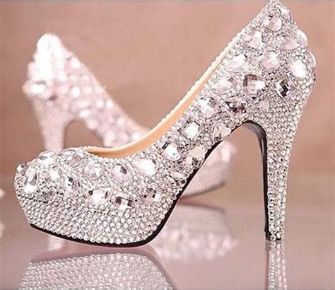 glitter rhinestone high heel wedding