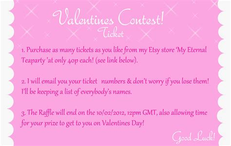 valentines day tickets valentines day raffle ticket by myeternalteaparty on