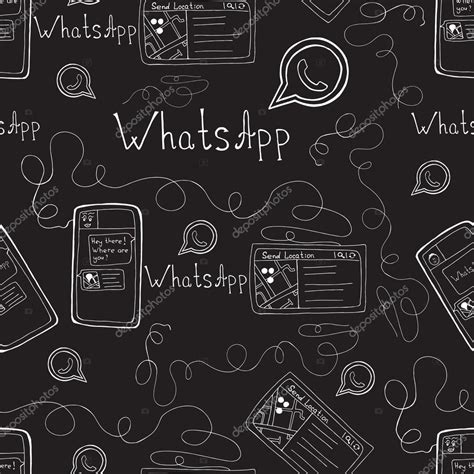 doodle whatsapp vector doodle seamless pattern with whatsapp and