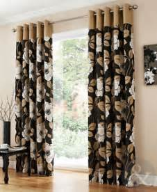 Beige And Black Curtains Luxury Floral Eyelet Curtains Black Beige Thick Cotton Ring Top Curtain Pair Ebay