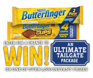 Butterfinger Sweepstakes 2017 - butterfinger ultimate tailgate instant win game 1 050 winners sweepstakes