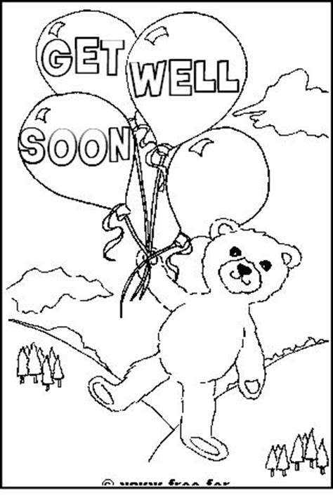 free printable coloring pages get well soon teddy with get well soon message