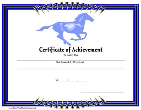 A Certificate Of Achievement Featuring A Blue Horse Running In The Background And A Border Of Horseback Gift Certificate Template