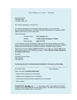 Release Letter Due Diligence fillable vermonttreasurer due diligence letter