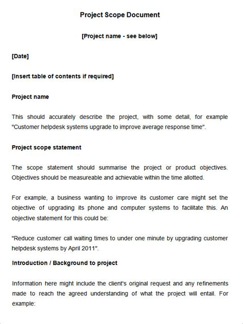 Project Scope Document Template Free