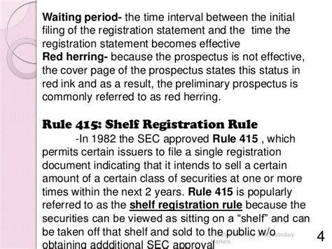 Shelf Offering Rule 415 by Primary And Secondary Markets