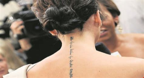victoria beckham tattoo font 41 adorable victoria beckham neck tattoos