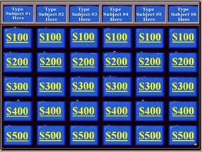 jeopardy template with sound and score powerpoint review templates