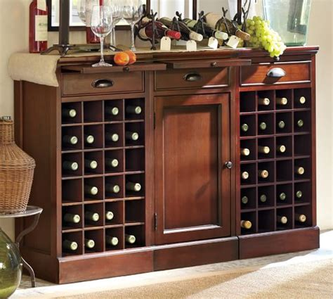 modular bar buffet with 2 wine grid bases 1 cabinet base