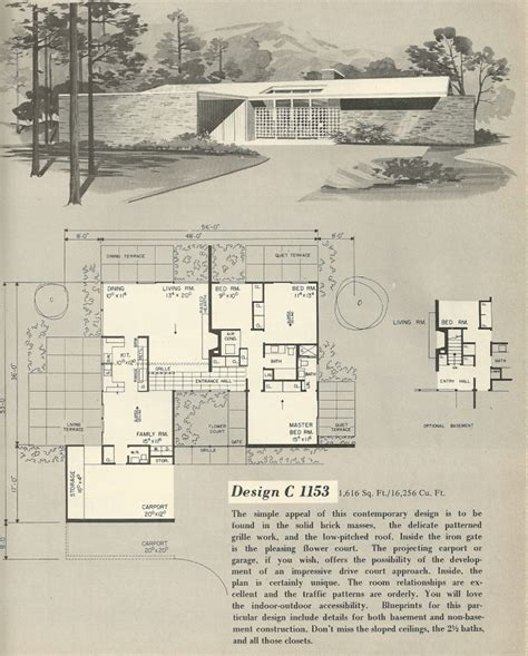 vintage home floor plans vintage house plans 1960s house plans mcm pinterest