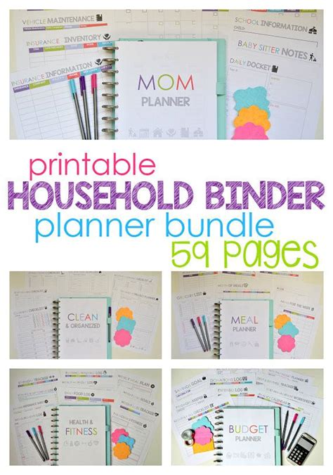 printable planner bundle printable household binder planner bundle includes meal