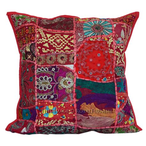 Patchwork Pillow - 40x40 cm multicolor vintage handmade patchwork