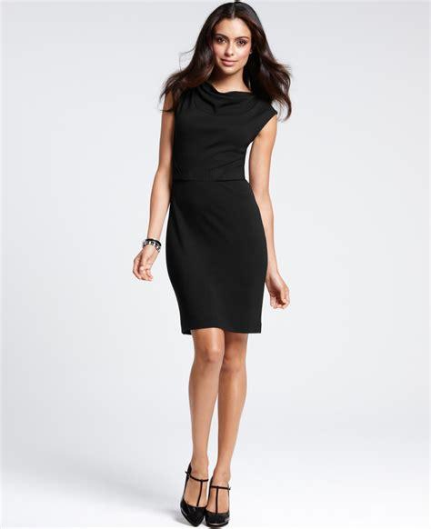 drape neck dress ann taylor drape neck nouvelle sheath dress in black lyst