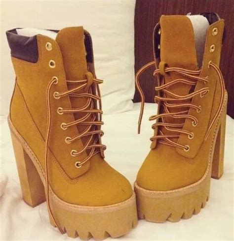 high heel timberland shoes timberlands brown rihanna boots wedges high heels