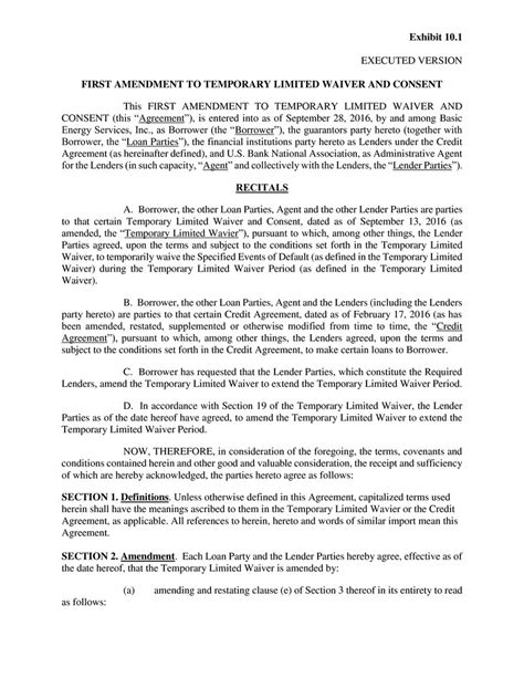 Contract By Basic Energy Services Inc Amendment To Promissory Note Template