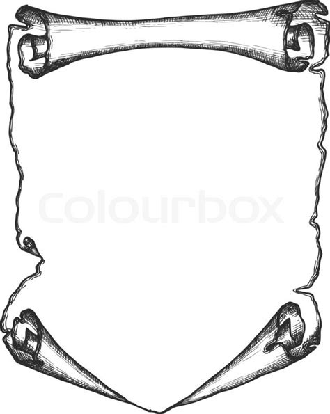 scroll drawing template paper scroll in a sketch style stock vector colourbox
