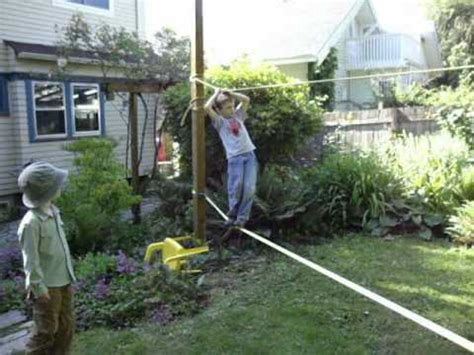 backyard tightrope backyard tight rope walking youtube