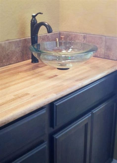 butcher block bathroom sink custom butcher block with floating sink by defiance