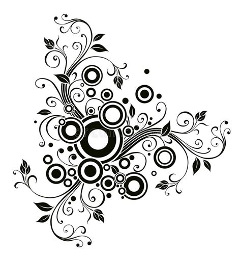 flower pattern in circle black flower and circle pattern royalty free stock