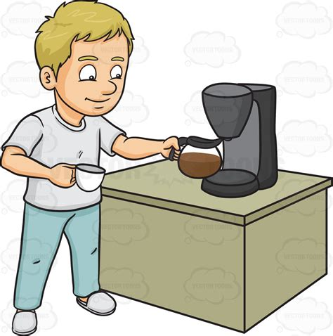 A Man Getting A Cup Of Freshly Brewed Coffee Cartoon Clipart   Vector Toons