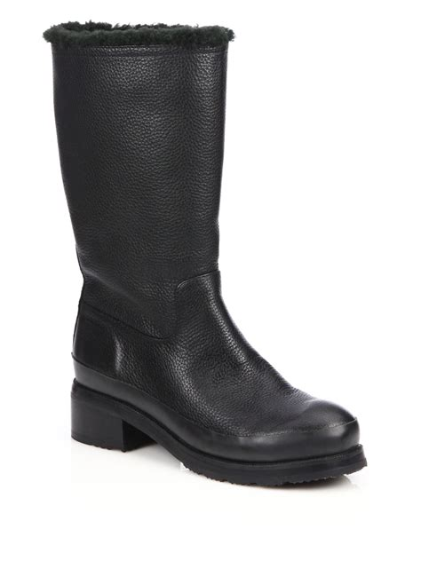 original shearling lined leather boots in black lyst