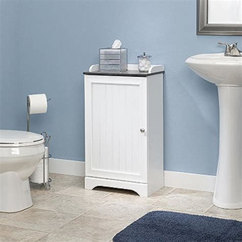 menards bathroom storage cabinets sauder bath soft white floor cabinet at menards 174