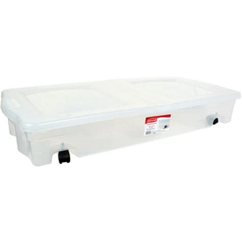under bed tote shop rubbermaid 67 quart clear underbed tote with hinged