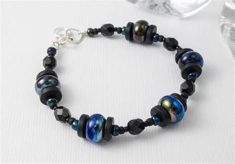Black and Blue Lampwork Bracelet by Ciel Creations