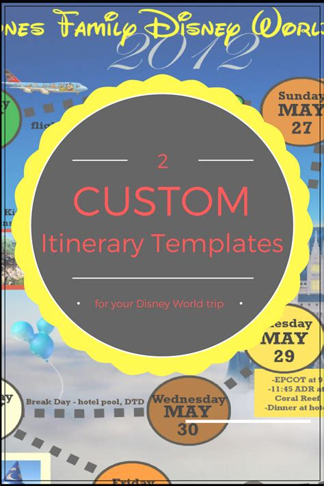 Wdw Itinerary Templates Free Printable Available In Both Word Gimp Formats Disney Arts Disney World Itinerary Template
