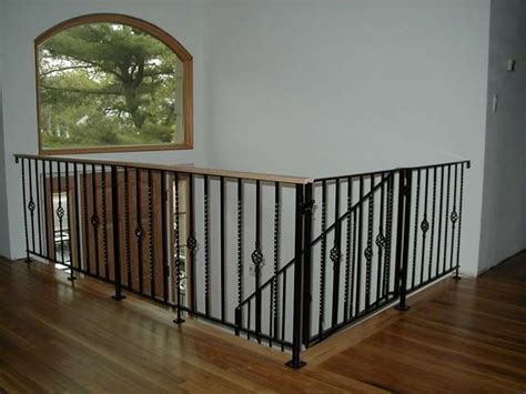 wrought iron banister rails white oak banister baby gate coated finish color