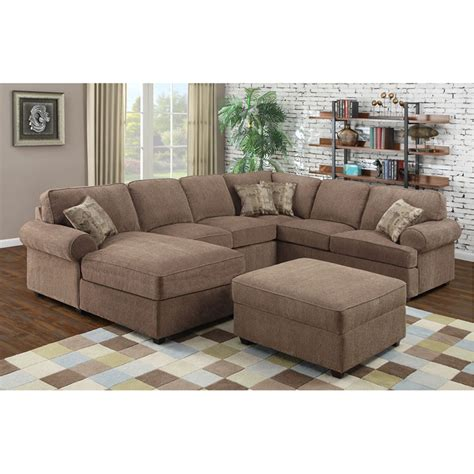 Plush Sectional Sofas Ellington Plush 3 Fabric Sectional Sofa Set Buy Now