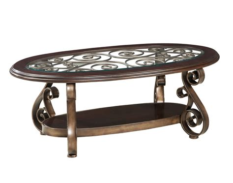 Antique Glass Table Standard Furniture Bombay Oval Glass Top Cocktail Table In