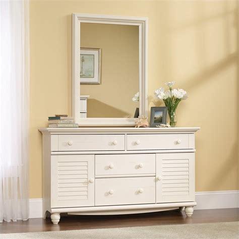 Sauder Harbor View Dresser by Sauder Harbor View Mirror Set Antiqued White Dresser Ebay