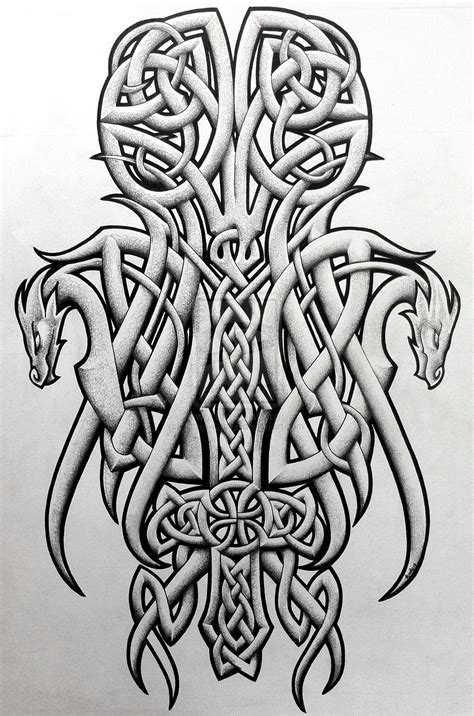 tattoo dragon celtic celtic dragons and cross by tattoo design deviantart com