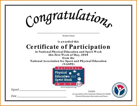 sports certificate template certificate of participation in sports sle www